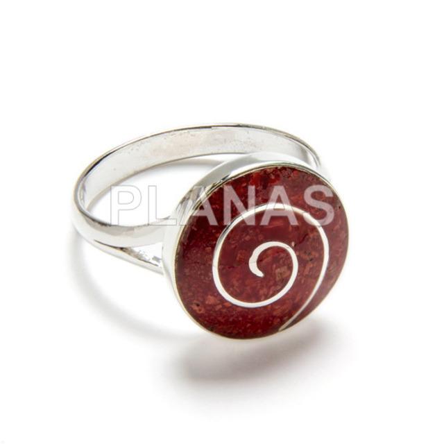 120 1 anillo plata de ley y coral