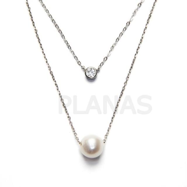 40a6521278fc Collar en Plata de Ley y Perla.
