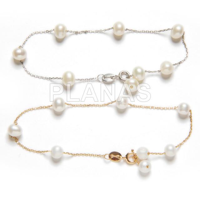 230 1 pulseras plata de ley y perlas