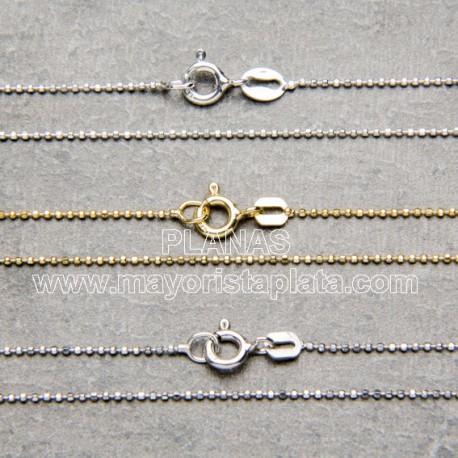 Cadena de plata de bolitas diamantadas ba o oro - Bano de oro ...