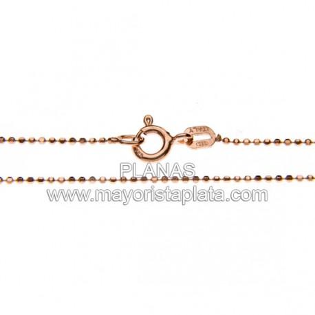 Cadenas Bolitas Diamantadas en Plata de Ley y Baño de Oro Rosa