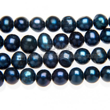 Tiras de Perlas Cultivadas Azul. 6mm.