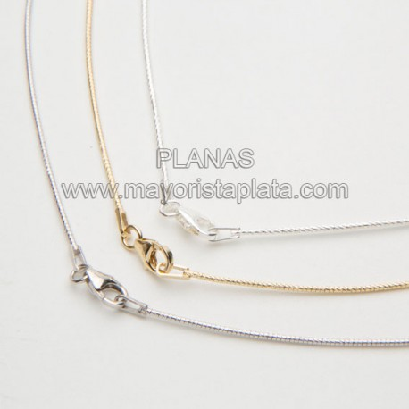 Cadena 40cm Omega Diamantada en Plata de Ley