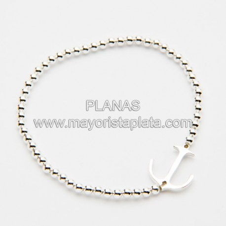 Pulsera Ancla Elastica en Plata de Ley.