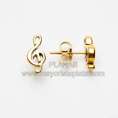 Pendientes Nota Musical en Acero y Baño Oro.