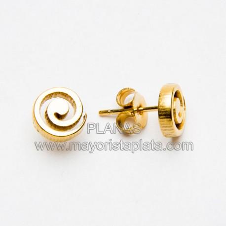 Pendientes Espiral en Acero y Baño Oro.