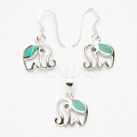 Conjunto Elefante en Plata de Ley y Turquesa.