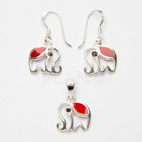 Conjunto Elefante en Plata de Ley y Coral.