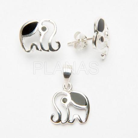 Conjunto Elefante en Plata de Ley y Onix.