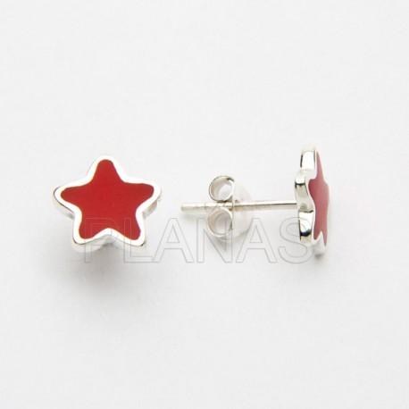 Conjunto Estrella en Plata de Ley y Coral.
