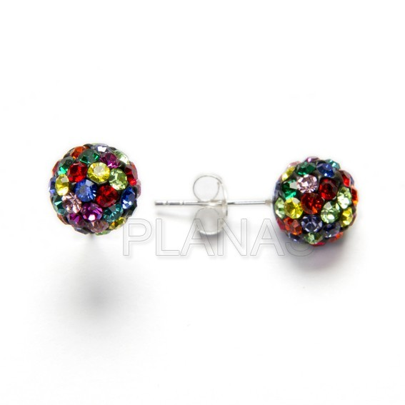 Earring silver and crystal 6mm