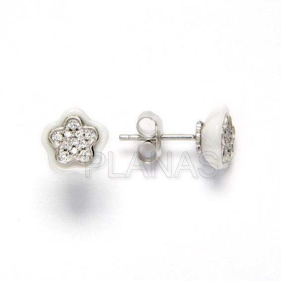 Rhodium silver earrings and zircons of law.