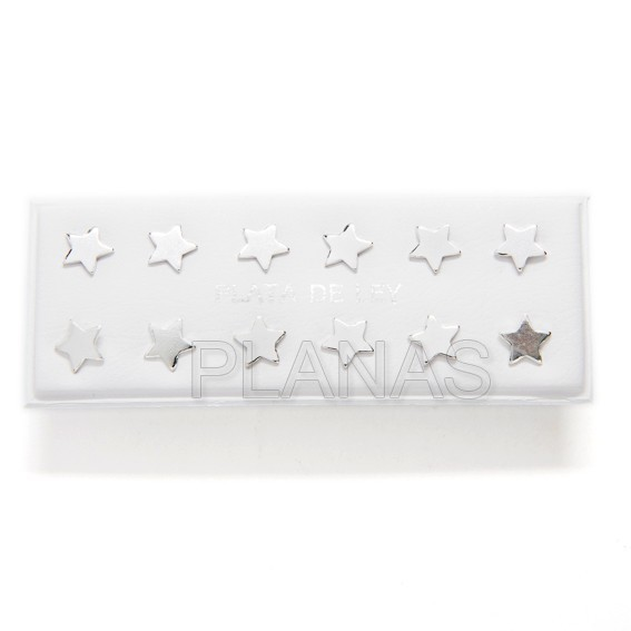 Silver earring pack of 6 pairs