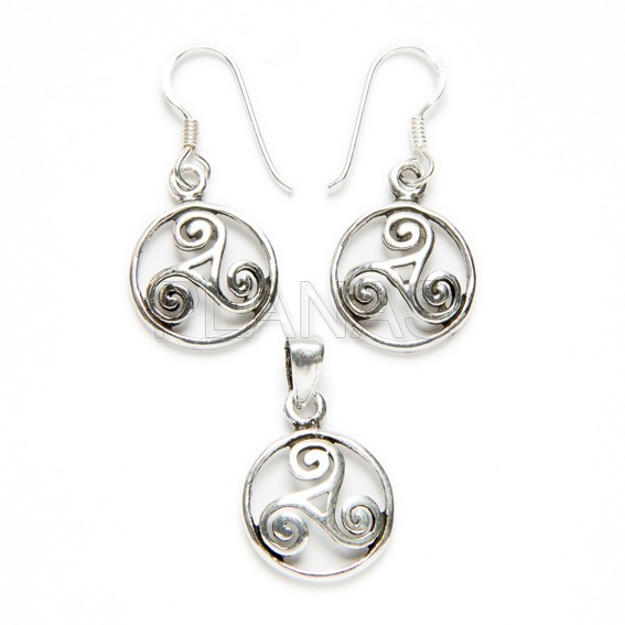 Set of silver earrings and pendant, whale tail.