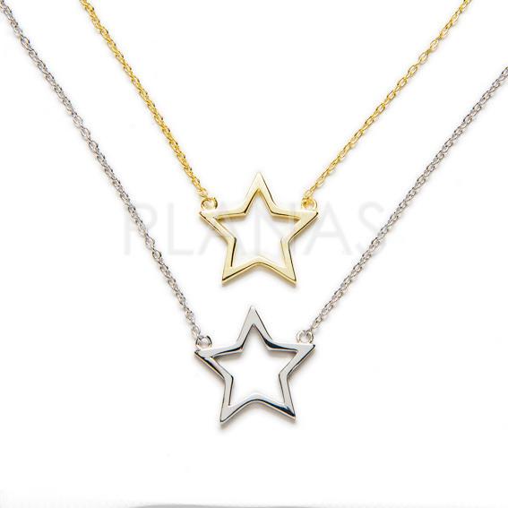 28593kwvo3 collar en plata de ley rodiada estrella
