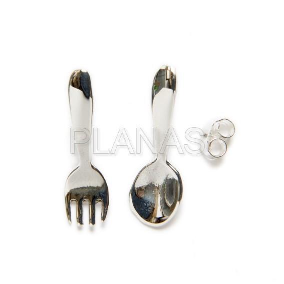 296643wl 5 pendiente en plata de ley cuchara y tenedor