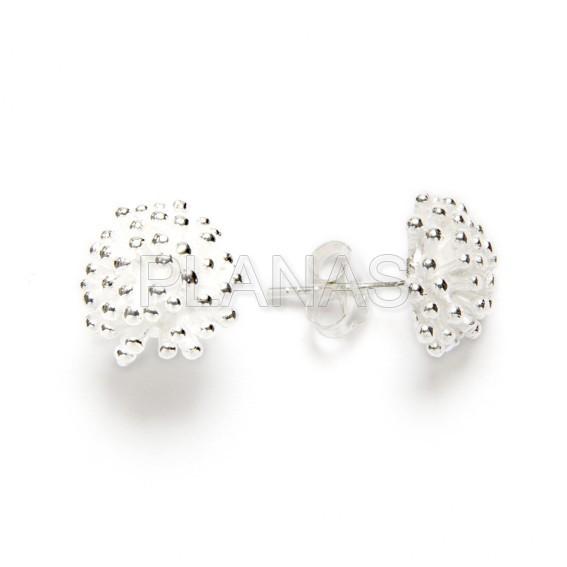 Pressure matte silver earring