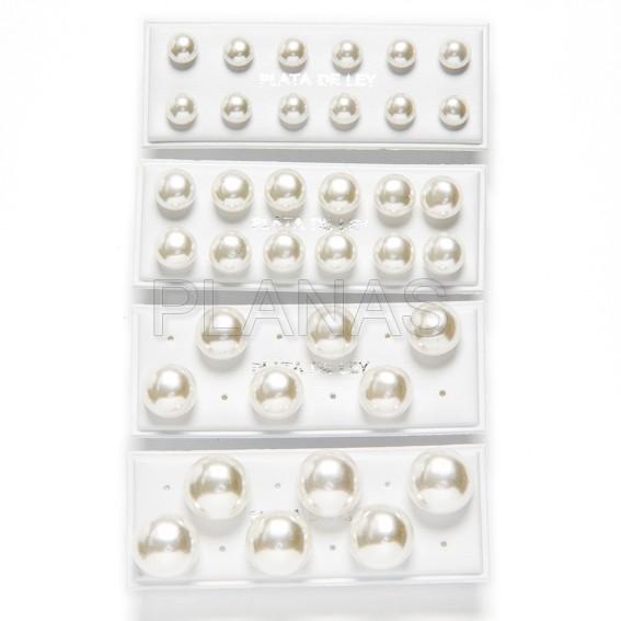 30735szw4b pendientes en plata de ley y perla cultivada sintetica color blanco