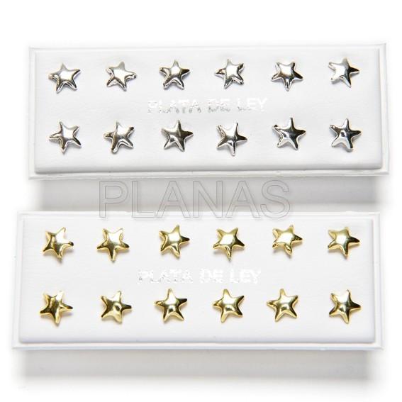 30740506lb display de 6pr de pendientes en plata de ley estrellas