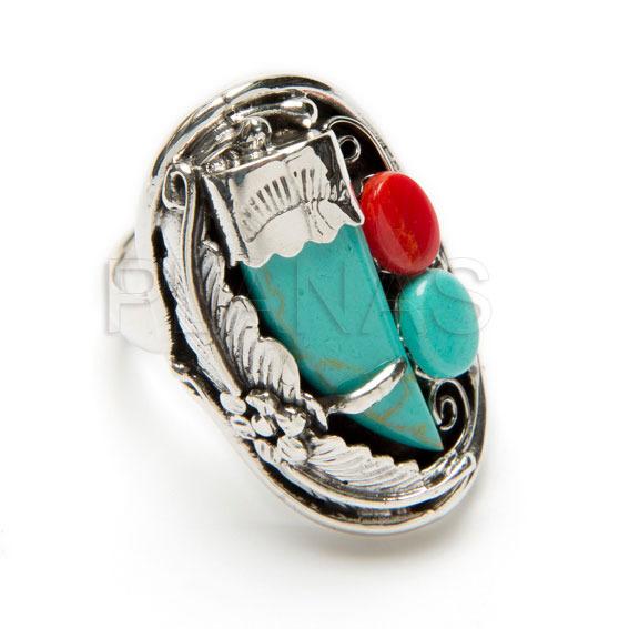 31066nizmt anillos en plata de ley coral y turquesa cuerno