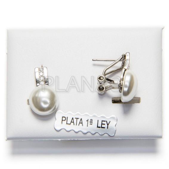 5a33f7fe97d5 Pendientes en Plata de Ley y Perla Sintetica con circonita.
