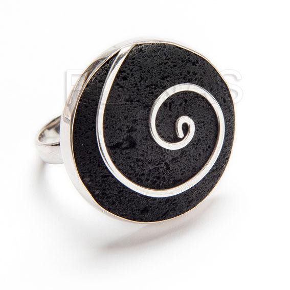 325442cdv6 anillo ajustable en plata de ley y lava volcanica