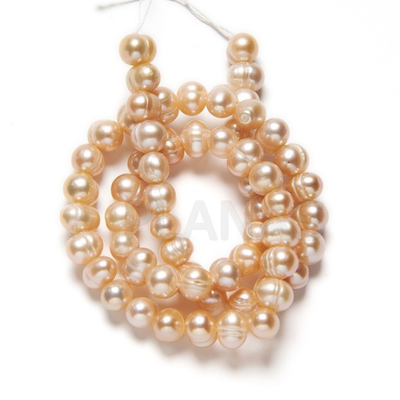 Tira de Perlas Cultivadas 6mm, Color Rosado.