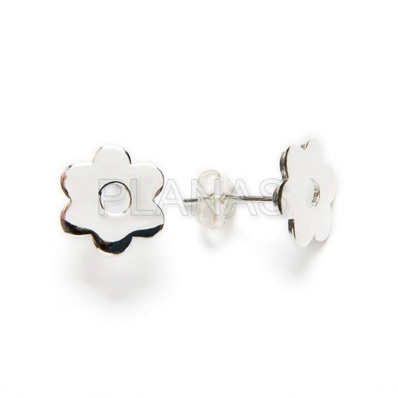 Flower earrings in sterling silver