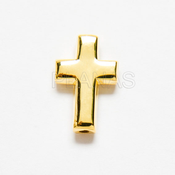 Cross in silver and gold-plated bracelet