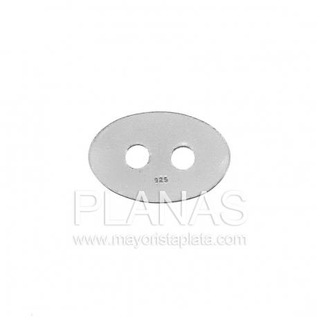 Placa de plata ovalada 15x10mm.