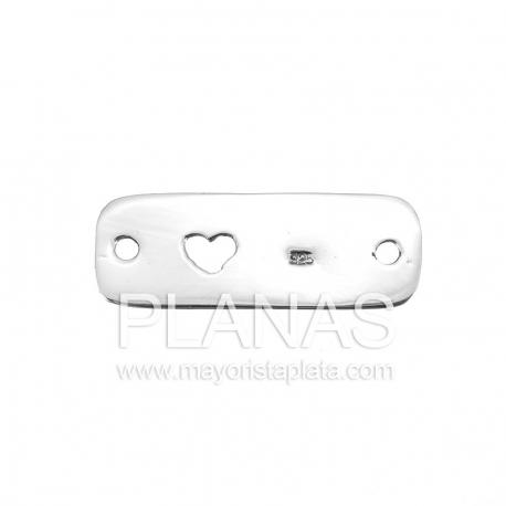 Placa de plata con corazón  28x10,5mm.