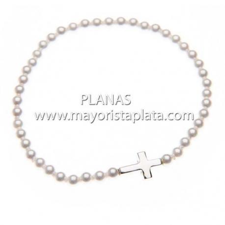 Pulsera Plata y Perla de Swarovski