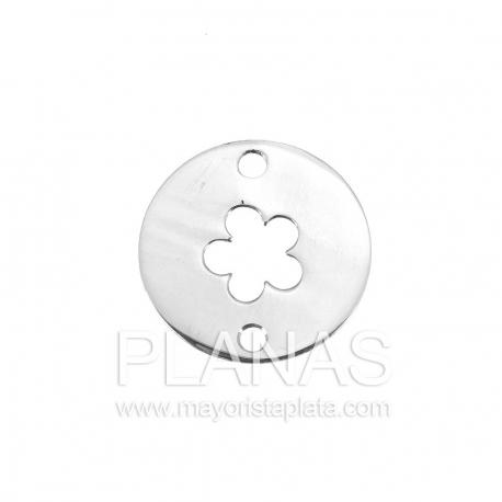 Circulo de plata con flor  16,6mm.