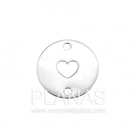 Circulo de plata con corazón  16,6mm.