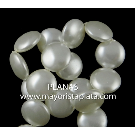 Perlas de Cristal Redonda Plana