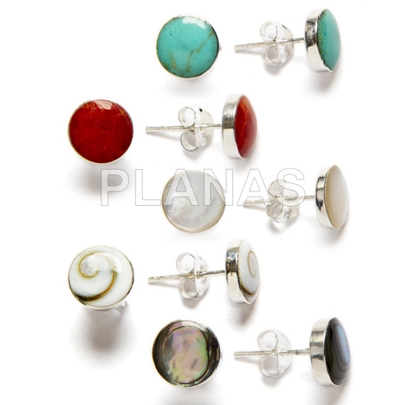 Silver round earring