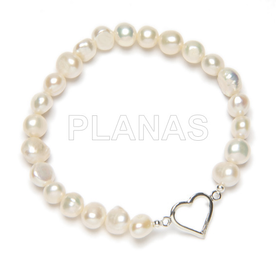 Silver and cultured pearl bracelet