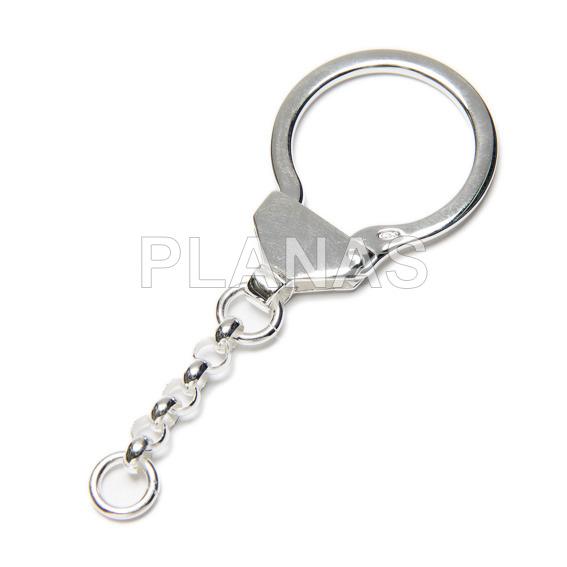 Anilla con cadena en plata de ley para llavero.