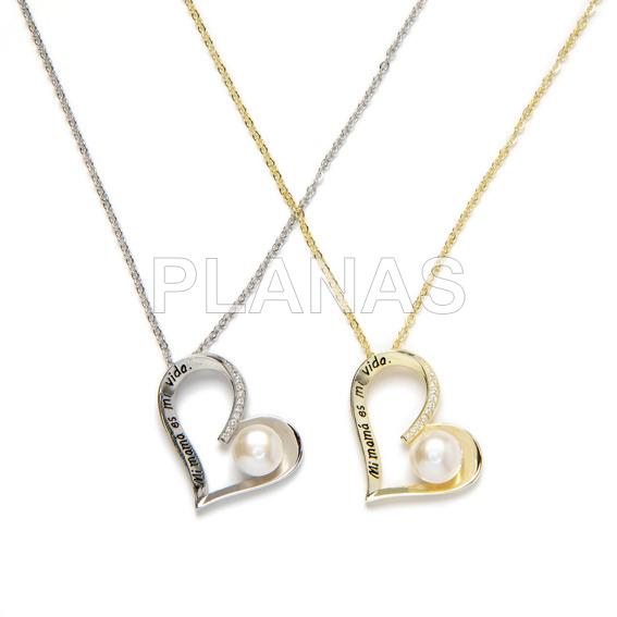 2785fd647095 Collar para Mama en Plata de Ley y Circonitas con perla cultivada de 8mm .CORAZON.