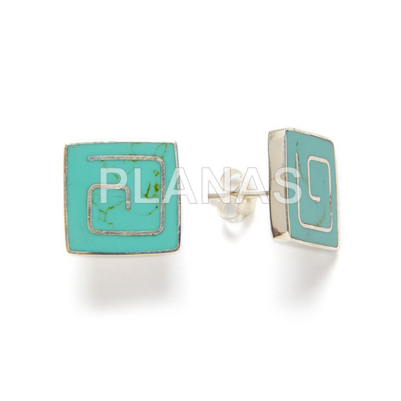 Sterling silver earrings and turquoise.