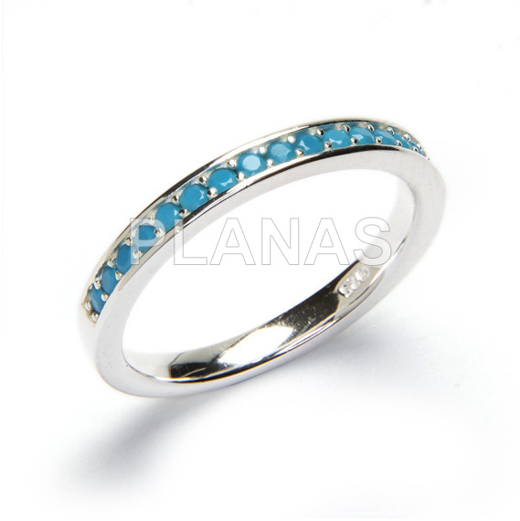 Ring silver and zircons