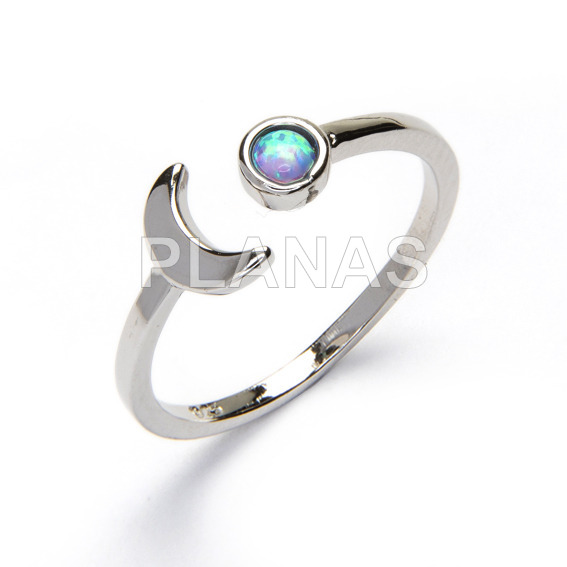 Ring in sterling silver rhodium and opal. moon.