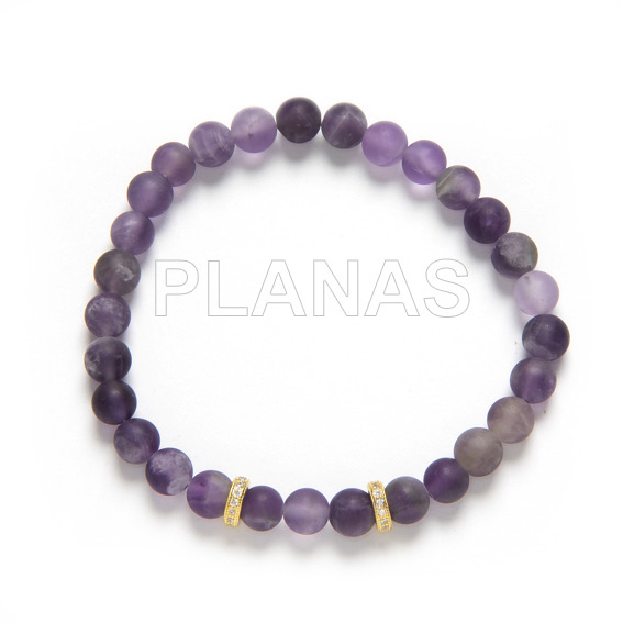 Elastic bracelet in sterling silver / gold bath with 6mm glazed amethyst and zircons.