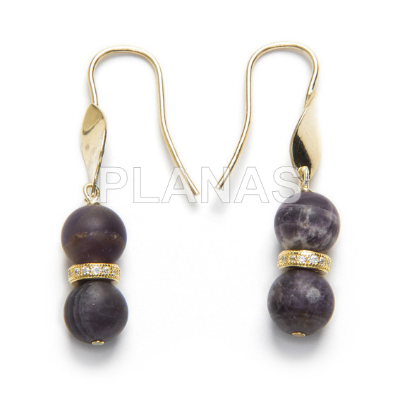 Earrings in sterling silver and gold bath with glazed amethyst and zircons.