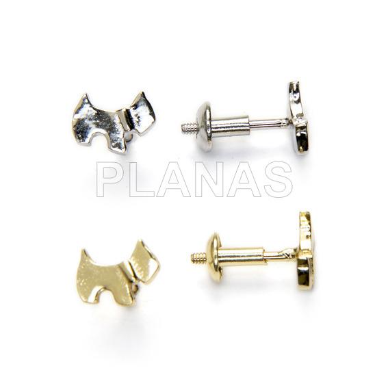 Rhodium silver earrings, screw cap.