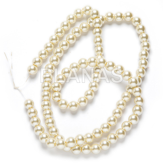 Strip of glass beads in 10 mm, color white sw.