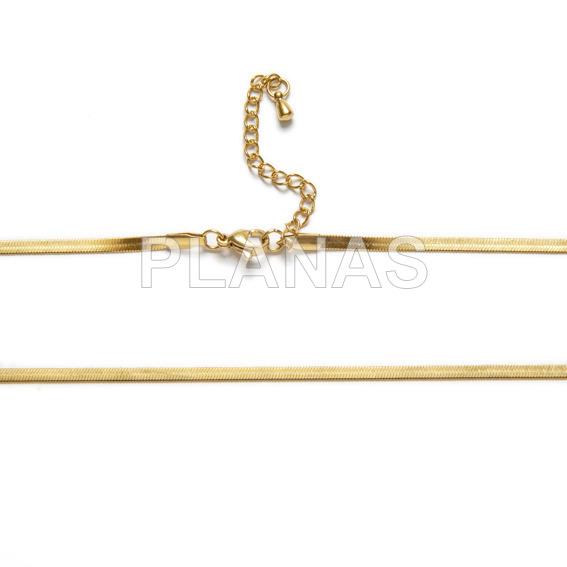 Stainless steel chain and magic gold bath in 42 + 5cm.