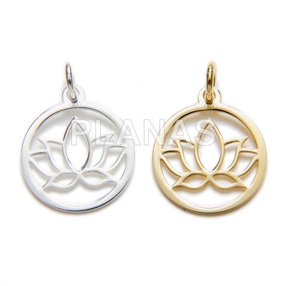 Mini pendant in sterling silver, lotus flower.