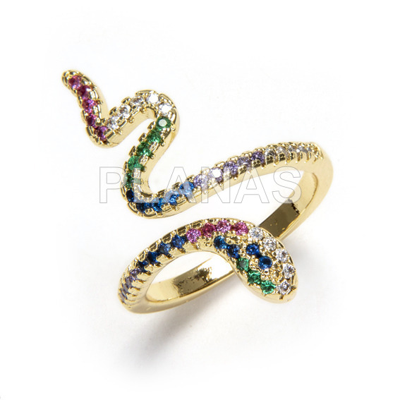1 micron gold plated brass ring, one size fits all. snake.