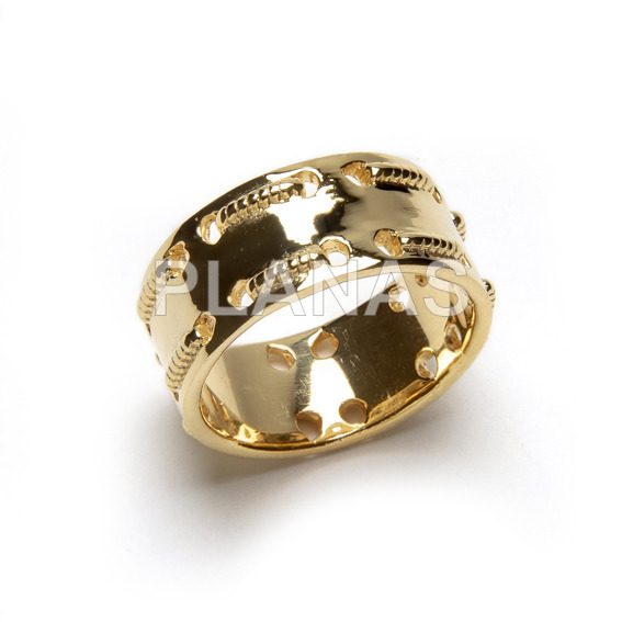 Brass ring plated in 1 micra gold.